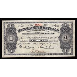 Newfoundland Government Cash Note, One Dollar, 1901
