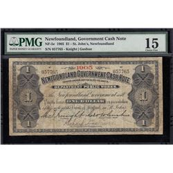 Newfoundland Government Cash Note, One Dollar, 1905