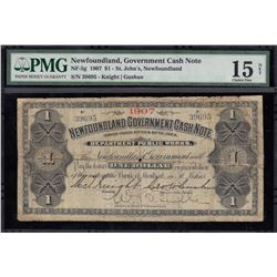 Newfoundland Government Cash Note, One Dollar, 1907