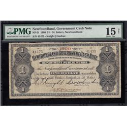 Newfoundland Government Cash Note, One Dollar, 1909