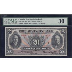 Dominion Bank $20, 1931