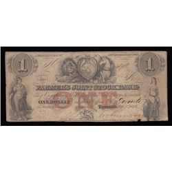 Farmer's Joint Stock Bank $1, 1849