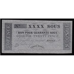 Hart's Bank, 20 Pence, 40 Sous, 1837