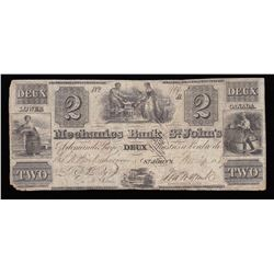 Mechanics Bank of St. John's $2, 1837