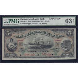 Merchants Bank of Halifax $5, 1880 Specimen