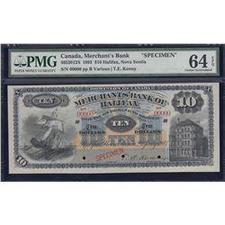 Merchants Bank of Halifax $10, Specimen