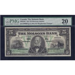 Molsons Bank $5, 1912