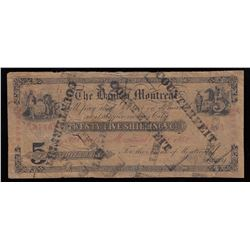 Bank of Montreal, $5, 1858