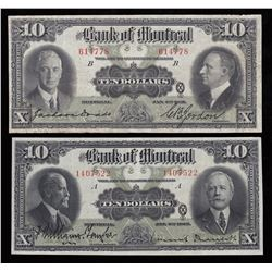 Bank of Montreal $10 1923/1931- Lot of 2