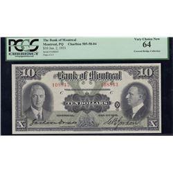 Bank of Montreal $10, 1931