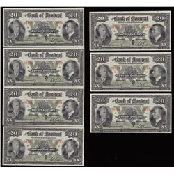 Bank of Montreal $20, 1938 - Lot of 7 Consecutive
