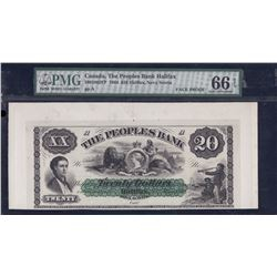 Peoples Bank of Halifax $20, 1864 F&B Proofs