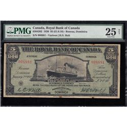 The Royal Bank of Canada, $5, 1920, Issued for Roseau, Dominica, Rare Large Size