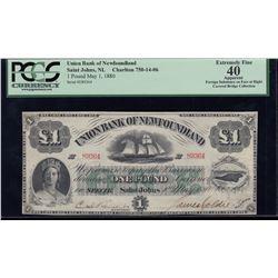 Union Bank of Newfoundland £1, 1880