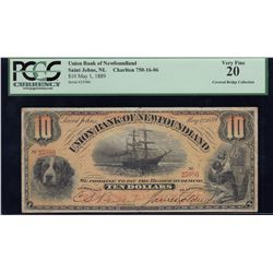 Union Bank of Newfoundland $10, 1889