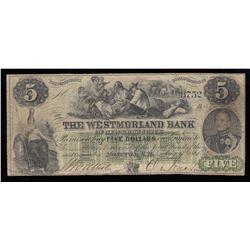 Westmorland Bank $5, 1861