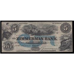 The Zimmerman Bank, Five Dollars, 185_, Remainder