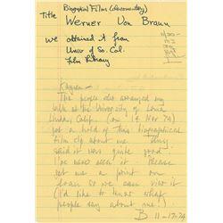 Wernher von Braun Handwritten Signed Note