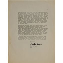 MA-9: Gordon Cooper Signed Typed Letter