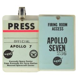 Jack King's Apollo 7 Pair of Access Badges