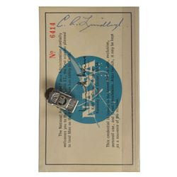 Apollo 11 Launch Pass Signed by Charles Lindbergh