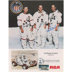 Apollo 16 Signed Award Certificate and Cover