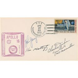 Apollo 16 Signed Cover and Duke Signed Photograph