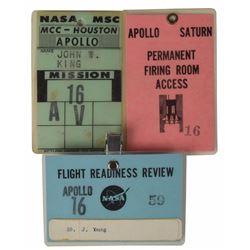 Jack King's Apollo 16 Set of (3) Badges