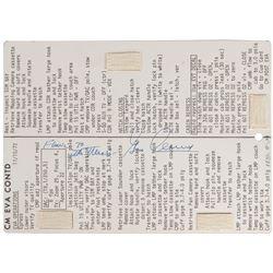 Gene Cernan's Apollo 17 Flown EVA Cue Card