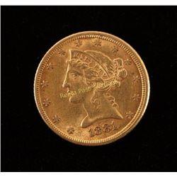 1881 Five Dollar Gold Piece