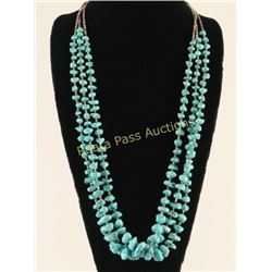 3 Strand Navajo Turquoise Nugget Necklace