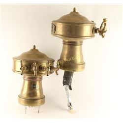 (2) Antique Brass Mushroom Beer Tower