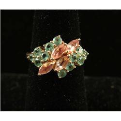 Colorful Sunstone & Mint Green Tourmaline Ring