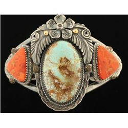 Navajo Silver Cuff with No. 8 Turquoise & Coral