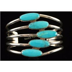 Navajo W. Denetdale Sterling & Turquoise Cuff