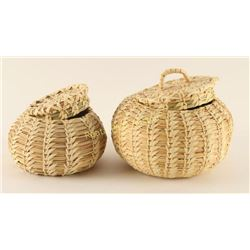 Lot of 2 Pine Needle Baskets