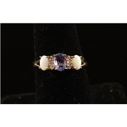 Charming Tanzanite, Opal & Diamond Ring