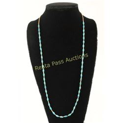 Long Turquoise Melon Shell Heishi Necklace