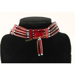 Navajo Turquoise Bone Choker Medallion