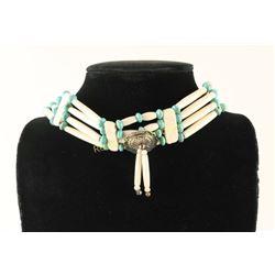 Hand Carved Bone Choker Sky Blue Turquoise Beads