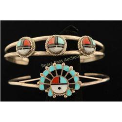 Lot of 2 Zuni Inlaid Bracelets