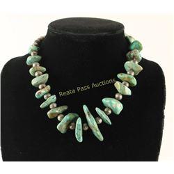 Navajo Turquoise & Sterling Pueblo Necklace
