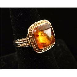 Glowing Golden Amber Ring