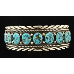 Natural Kingman Spiderweb Turquoise Silver Cuff