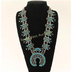 Navajo Petit Point Squash Blossom Necklace
