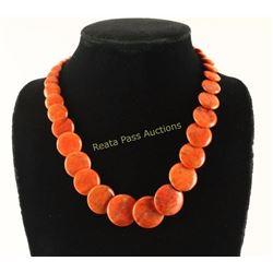 Single Strand Navajo Coral Bead Necklace