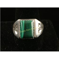 Large Sterling Silver Malachite Stone Ring