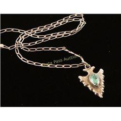Sterling & Turquoise Arrowhead Pendant