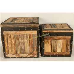 Lot of 2 Wooden Storage Boxes