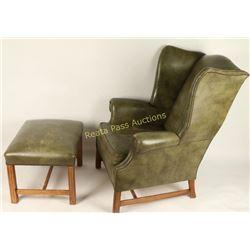 Vintage Wingback Chair & Ottoman